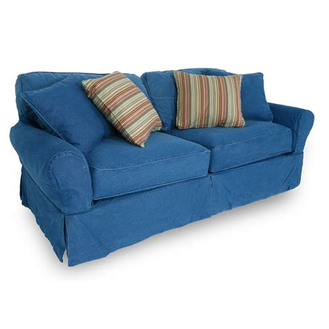 Washed Denim Sofa With Slipcover Decorating Ideas Denim Sofa Slipcover