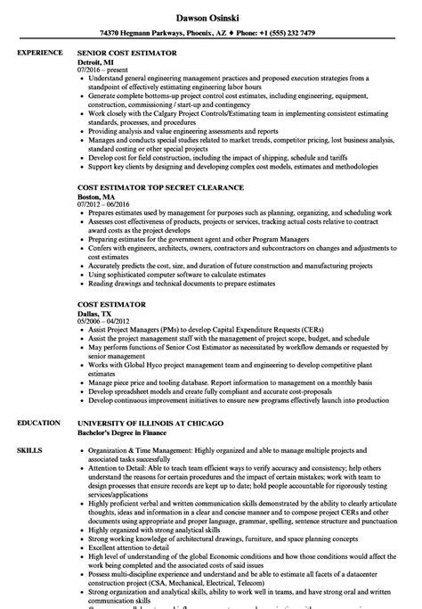 construction estimator cv cost estimator resume sles velvet