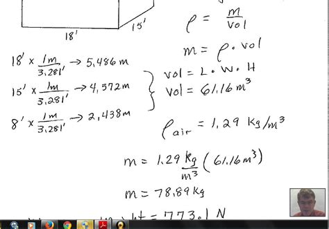 volume of air in a room weight of air in a room using density formula