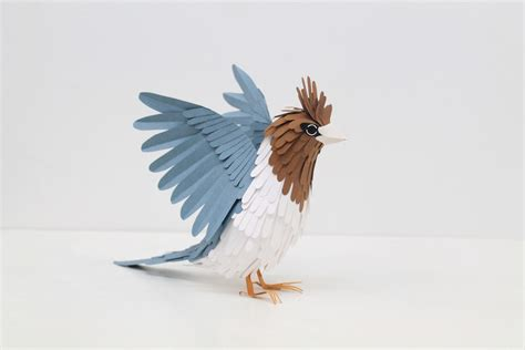 Bird With Paper - 100 beautiful bird sculptures made out of paper