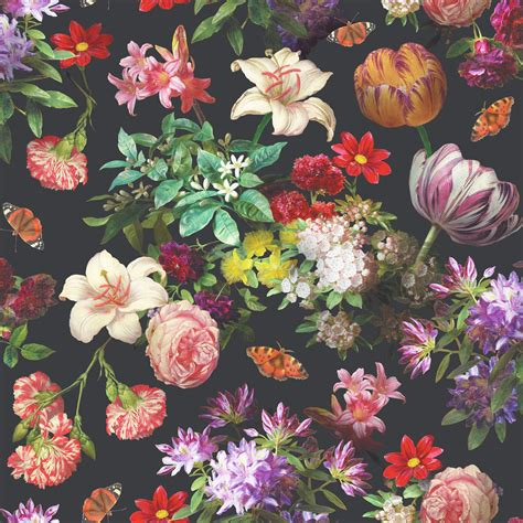wallpaper flower wall brigitte black floral wallpaper departments diy at b q