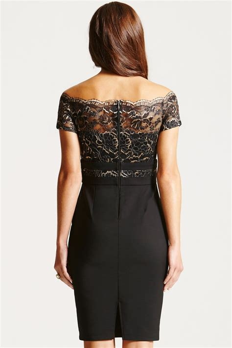 black metallic lace bardot dress from uk