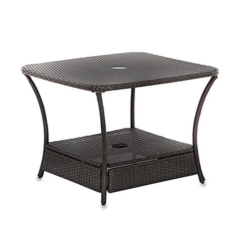 Buy Wicker Umbrella Coffee Table From Bed Bath Beyond Outdoor Coffee Table With Umbrella