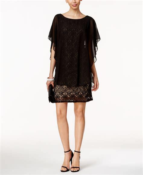 r m richards dresses r m richards lace capelet dress in black lyst