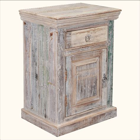Distressed Nightstand Reclaimed Wood Distressed Storage Cabinet Rustic End Table