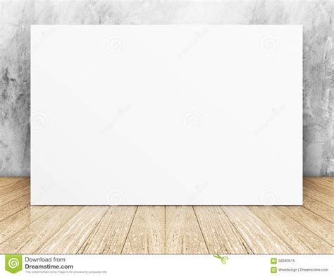 wall post template white blank square poster in concrete wall and wooden