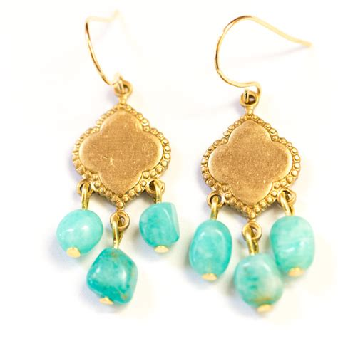 Turquoise Chandelier Earrings Turquoise Amazonite Chandelier Earrings Gemstone Chandeliers