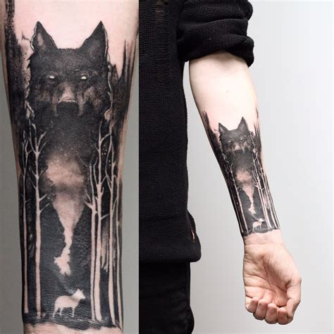 tattoo back sleeve wolf and forest on aiden i like the wolf style tattoos