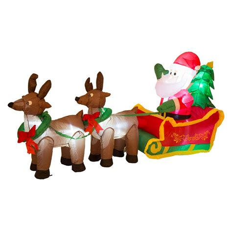 blow up santa in a boat glitzhome 6 89 ft l lighted inflatable santa sleigh decor