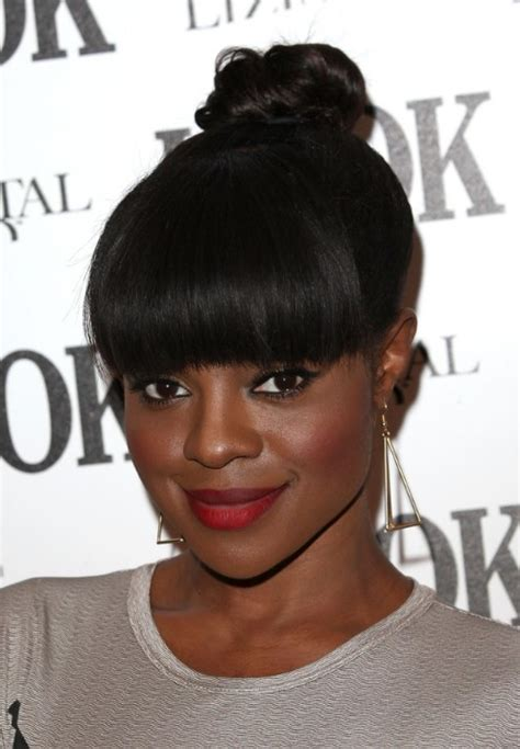 black updo hairstyles with bangs 16 stylish updos for black women