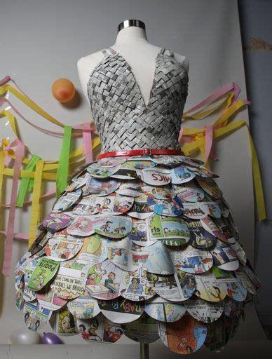 design gaun dari koran contoh kerajinan dari barang bekas koran dibuat menjadi