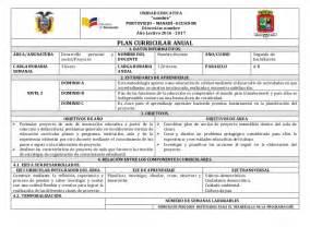 plan curricular de primaria plan curricular anual proyecto 2 bgu
