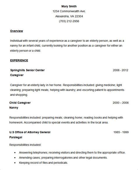exle of simple resume format image gallery simple resume