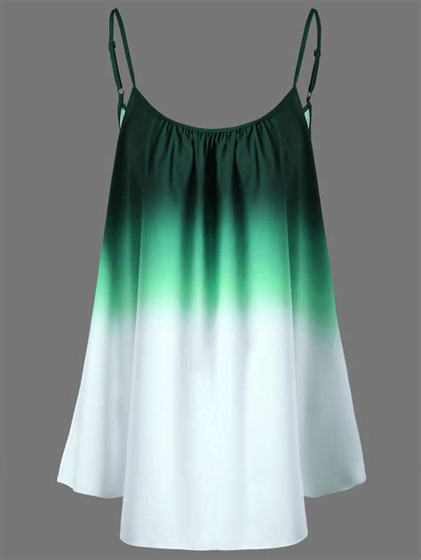 Top Green Xl plus size ombre cami top in green xl sammydress