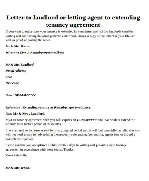 Letter Extending Lease Agreement Letter Formats