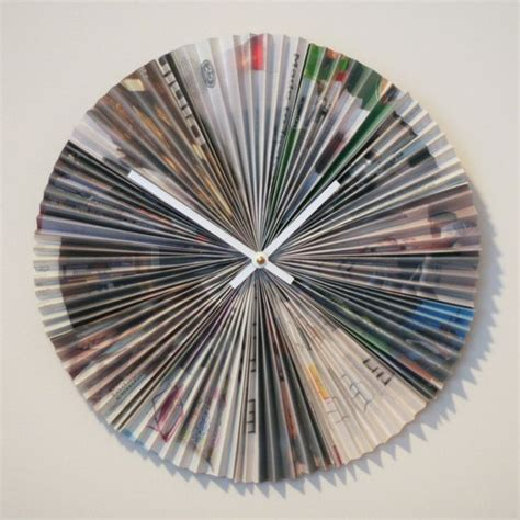 recycling paper crafts clock from magazine pages ikea recycle repurpose