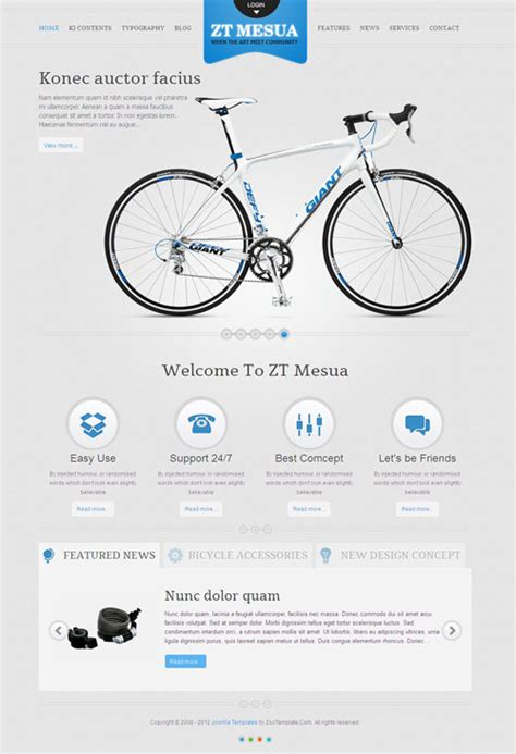 Bike Parts List Template zt mesua joomla bicycle template for showcase accessories