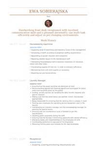 housekeeping resume sles visualcv resume sles database