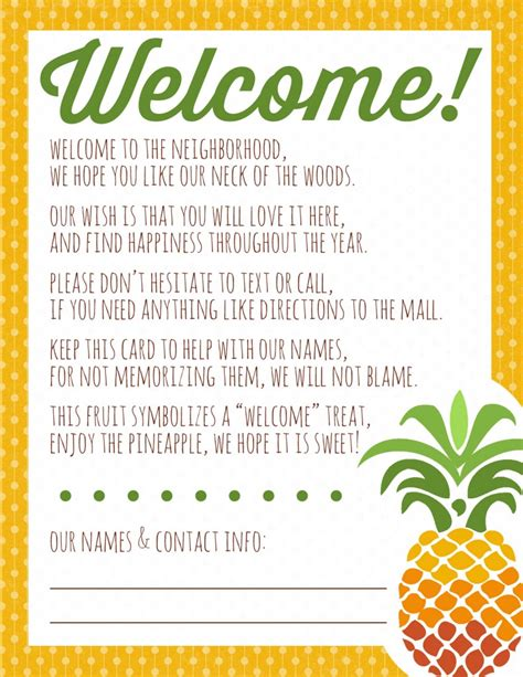Welcome To The Neighborhood Card Template by Welcome To The Neighborhood Pineapple Gift Printable