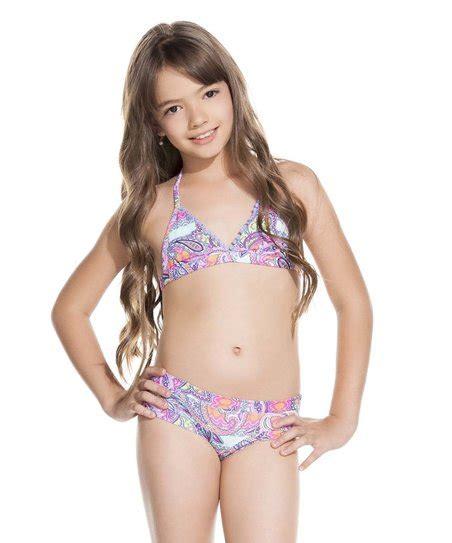 zulily little girls swimwear ondademar pink lavender bengal bikini tween zulily