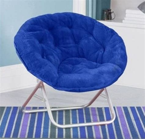 Blue Saucer Chair by Folding Saucer Chair Portable Lounge Faux Fur Bedroom Comfy Wide Seat Blue What S It Worth