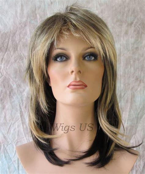 how to blend your choppy hair medium length wig choppy layers bang blonde brown dark