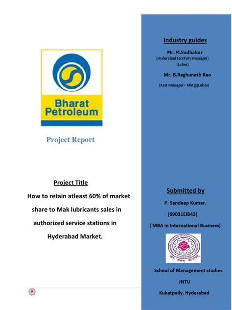 Mba In Project Management In Hyderabad by Bpcl Mak Lubricants Internship Report