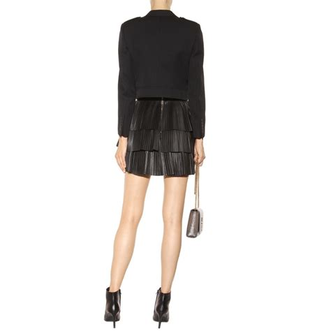 balmain tiered leather skirt in black lyst