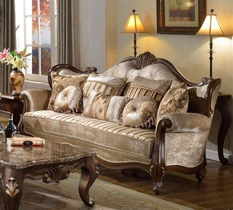 marseille french provincial beige chenille sofa loveseat