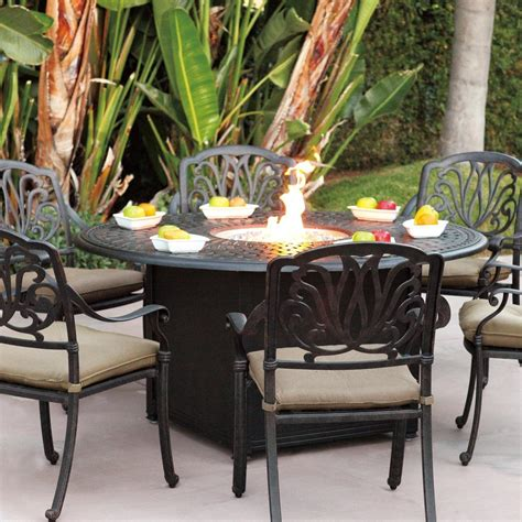 Darlee Elisabeth 7 Piece Cast Aluminum Patio Fire Pit Patio Dining Set With Pit