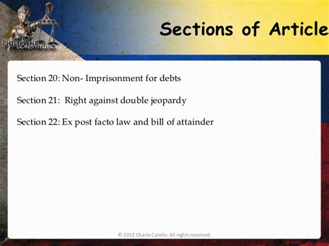 Bill Of Rights Section 21 by Philippine Constitution 1987 Article 3 Bill Of Rights