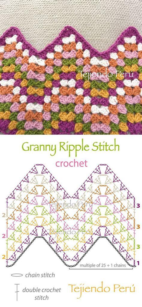 pattern blocks en francais crochet granny ripple stitch diagram or pattern