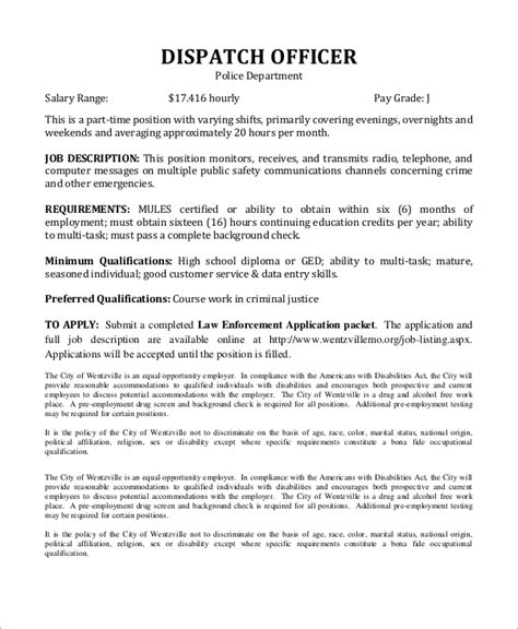sle dispatcher description 10 exles in word pdf