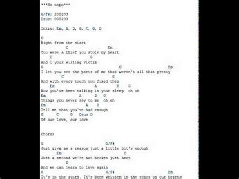 just a testo just give me a reason pink lyrics and chords