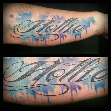 tattoo fonts picsart custom watercolor style with script by haylo tattoos