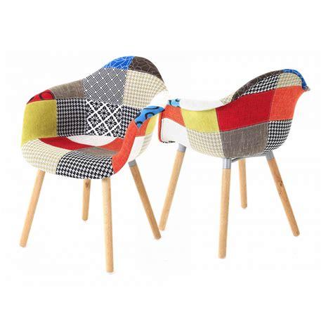 2x fauteuil style scandinave tissu multicolore tr 233 pied