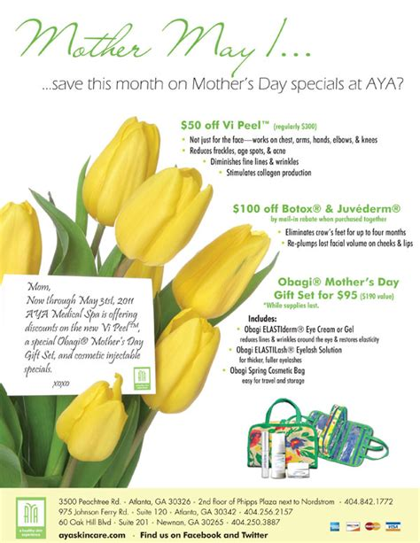 save this month on mother day specials at aya medical spa