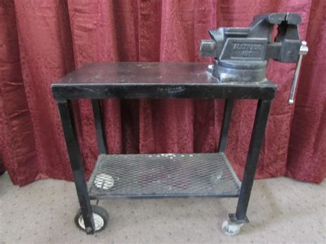 metal work table with wheels lot detail metal work table with vise castor wheels