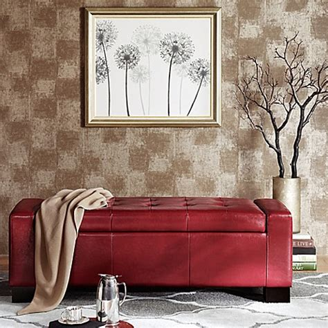 madison park storage ottoman buy madison park mirage bench storage ottoman in red from