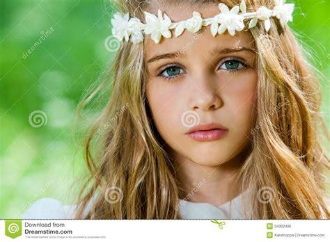 closeup of beautiful baby with flower headband stock photo of with headband royalty free stock