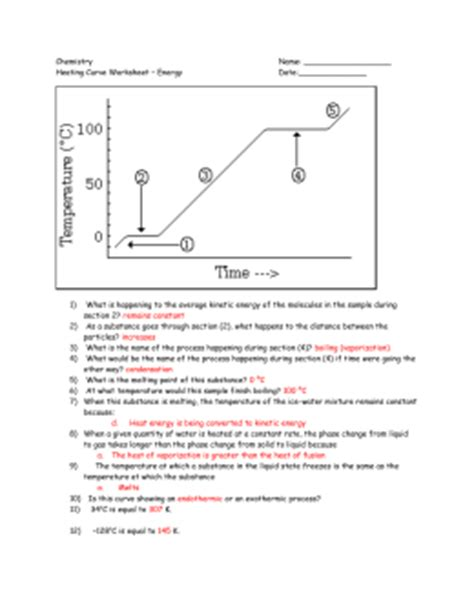 Heating Curve Worksheet Answer Key by Physical Science Chapter 3 States Of Matter Worksheet 3