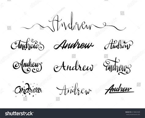 Handmade Lettering - personal name andrew vector handwritten calligraphy set