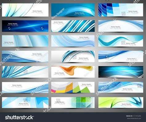 header design kit abstract various 21 colorful header set stock vector
