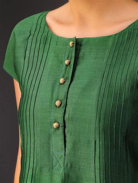 kurta pattern neck buy green pintuck chanderi kurta online kurtis kurti