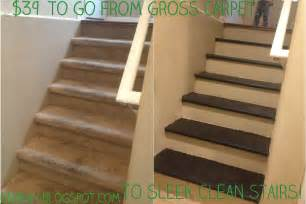 Wood Stairs With Carpet by One Day At A Time Inexpensive Diy Carpet To Wood Stairs