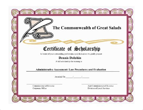 free templates for scholarship awards image gallery scholarship certificate