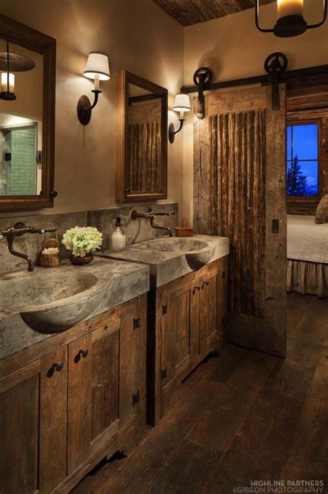 rustic bathroom decor  concrete sinks  barn door