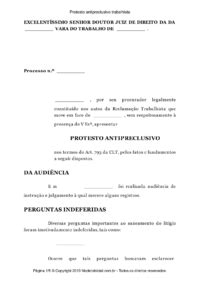 Modelo Protesto antipreclusivo trabalhista