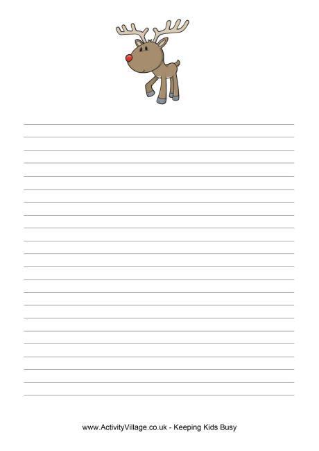 christmas reindeer writing paper