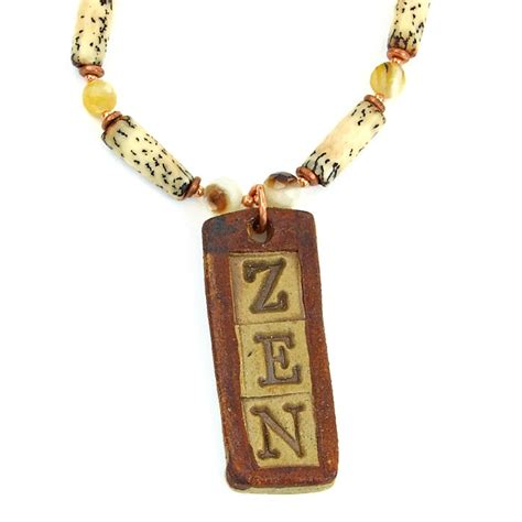 Handmade Pendant - zen necklace handmade pendant palm wood of pearl